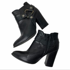 Windsor Smith Black Leather Western Ankle Boots